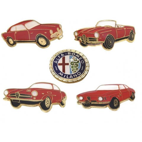 HISTORICAL GOLD METAL ALFA ROMEO GIULIETTA PIN PACK