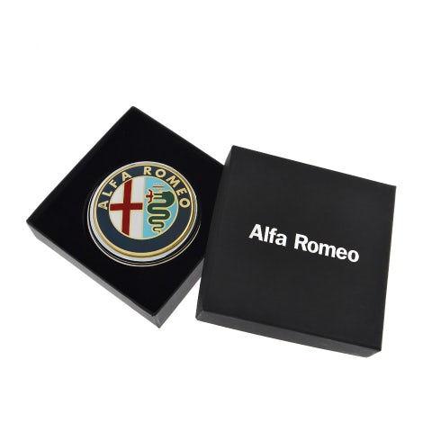ROUNDED PAPER-WEIGHT ALFA ROMEO IN NICKEL-PLATED METAL