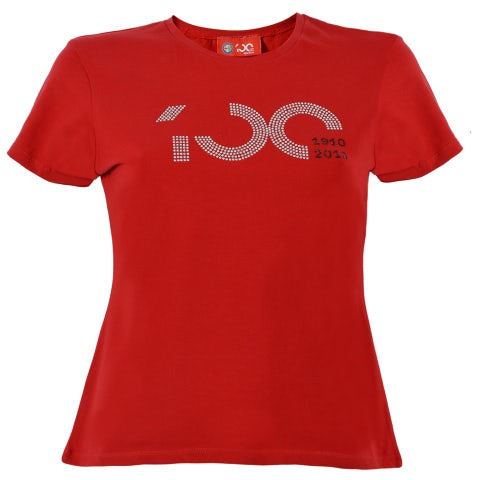 S. SLEEVED T-SHIRT FOR WOMEN CENTENARY, RED WITH TWO-COLOR RHINESTONE