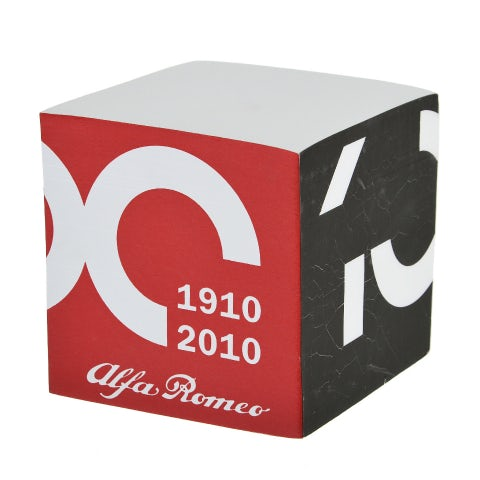 NOTEBOOK CUBE-SHAPED, CENTENARY WITH WHITE BACKGROUND