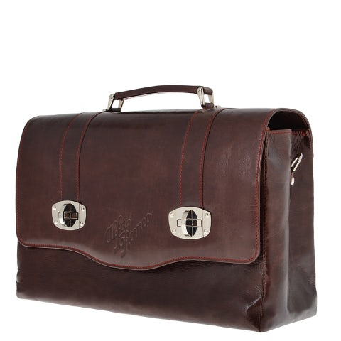 A. R. HERITAGE BRIEFCASE IN GENUINE DISTRESSED LEATHER