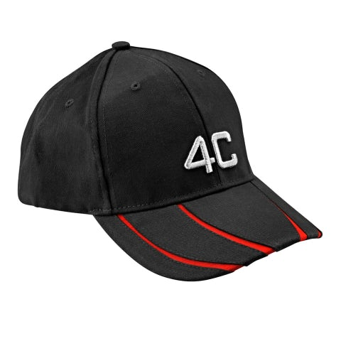 4C BLACK/RED 6 PANEL CAP