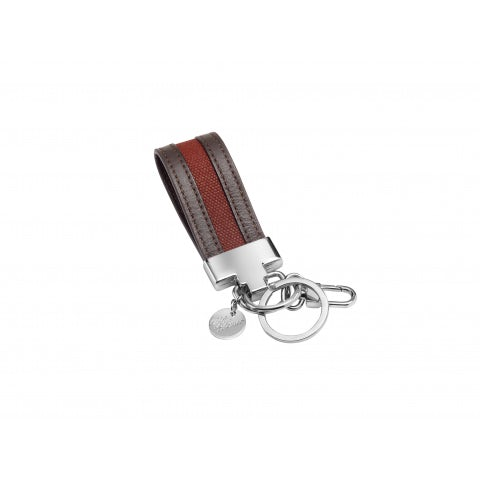 HERITAGE DARK BROWN CALFSKIN LEATHER KEY RING