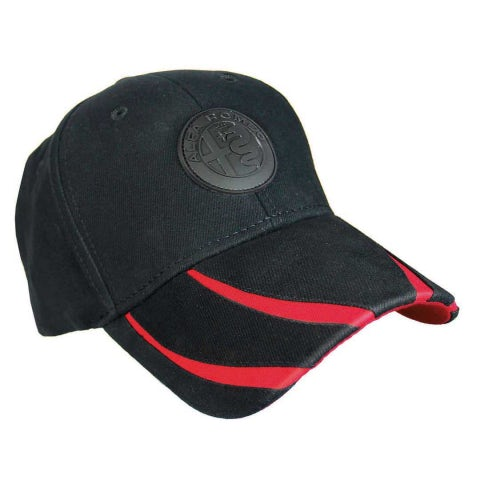 A.R. BLACK/RED COTTON SIX-PANEL CAP