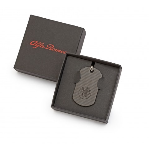 MILITARY KEYRING IN CARBON FIBRE WITH NEW A.R. LOGO