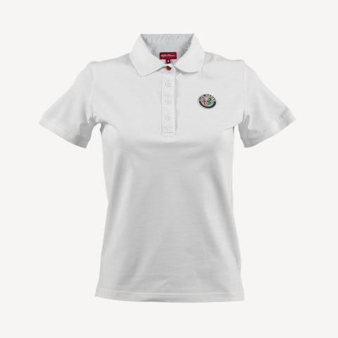 LADIES' S.SLEEVE POLO SHIRT IN WHITE PIQUE' WITH RUBBER LOGO+LETTERING