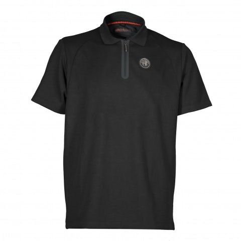 MEN'S S.SLEEVE POLO SHIRT IN TECHNICAL BLACK PIQUE' WITH RUBBER LOGO+LETTERING