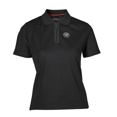 LADIES' SHORT SLEEVE POLO SHIRT IN BLACK PIQUE' TECHNICAL FABRIC