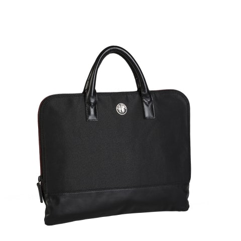 BAG IN FABRIC/BLACK LEATHER, ALUMINIUM LOGO