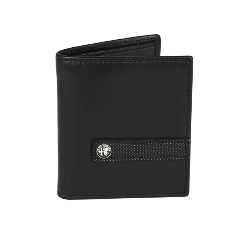 MEN'S BLACK LEATHER WALLET WITH CREDIT CARD HOLDER