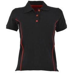 WOMEN'S BLACK S-SLEEVED PIQUE POLO SHIRT