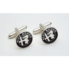 BLACK AND SILVER-PLATED BRASS NEW A.R. LOGO CUFFLINKS