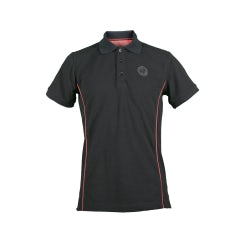 MEN'S BLACK S-SLEEVED PIQUÉ POLO SHIRT WITH ROUND LOGO PATCH