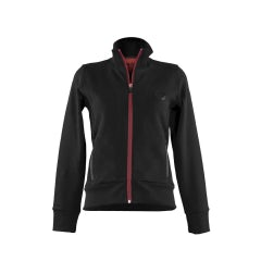 WOMEN'S BLACK SWEATSHIRT WITH A.R. ROUND LOGO RED SECTIONS