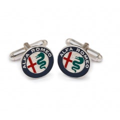 BLACK ALUMINIUM CUFF LINKS WITH COLOURED NEW A.R. LOGO
