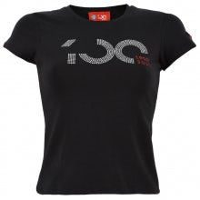 S. SLEEVED T-SHIRT FOR WOMEN CENTENARY, BLACK WITH TWO-COLOR RHINESTONE