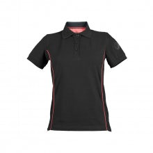 WOMEN'S BLACK S-SLEEVED PIQUÉ/ELASTANE POLO SHIRT WITH A.R. ROUND LOGO