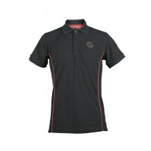 POLO UOMO M. CORTA IN PIQUET NERO CON PATCH BOLLONE